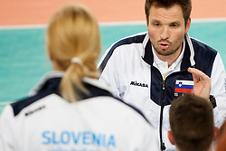 Luka Slabe, head coach of Slovenia during qualifications match for FIVB Men's World Championship 2014 between National team Slovenia and Israel in pool B on May 24, 2013 in SRC Stozice, Ljubljana, Slovenia. (Photo By Urban Urbanc / Sportida)