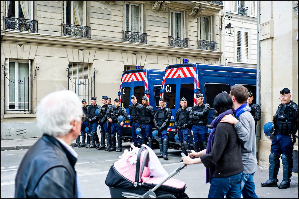 A police dam is installed for a demonstration near Bastille, Paris.
