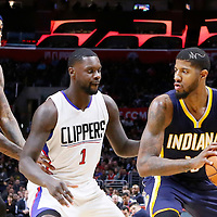 02 December 2015: Indiana Pacers forward Paul George (13) drives past Los Angeles Clippers forward Lance Stephenson (1) on a screen set by Indiana Pacers center Jordan Hill (27) during the Indiana Pacers 103-91 victory over the Los Angeles Clippers, at the Staples Center, Los Angeles, California, USA.