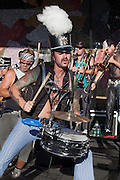 Drummer, March Fourth Marching Band performing at Bumbershoot 2011, Seattle, Washington, USA