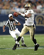 New Orleans quarterback Aaron Brooks (2) during game action against St. Louis at the Edward Jones Dome in St. Louis, Missouri, October 23, 2005.  The Rams beat the Saints 28-17.