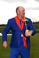 Thomas Bjorn with The trophy with the European teams win<br /> <br /> Sunday singles<br /> The 42nd Ryder Cup Matches 2018 on the Albatros Course of Le Golf National, Paris, France. 30th September 2018