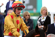 Andrea Atzeni in the colours of Winning Owner Mr Sutong Pan before winning The Listed Sky Bet Race To The Ebor Grand Cup over 1m 6f (£50,000)   during the MacMillan Charity Raceday held at York Racecourse, York, United Kingdom on 15 June 2019.