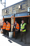 Picture by David Horn/Focus Images Ltd +44 7545 970036.20/04/2013.Barnet Safety stewards welcom supporters to the last game at Underhill Stadium before the npower League 2 match at Underhill Stadium, London.