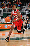 March 7, 2009: Farnold Degand of the North Carolina State Wolfpack in action during the NCAA basketball game between the Miami Hurricanes and the North Carolina State Wolfpack. The 'Canes defeated the Wolfpack 72-64.