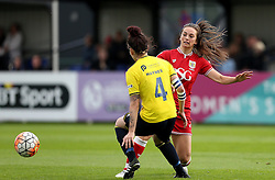Georgia Evans of Bristol City Women passes the ball past Lauren Haynes of Oxford United - Mandatory by-line: Robbie Stephenson/JMP - 25/06/2016 - FOOTBALL - Stoke Gifford Stadium - Bristol, England - Bristol City Women v Oxford United Women - FA Women's Super League 2