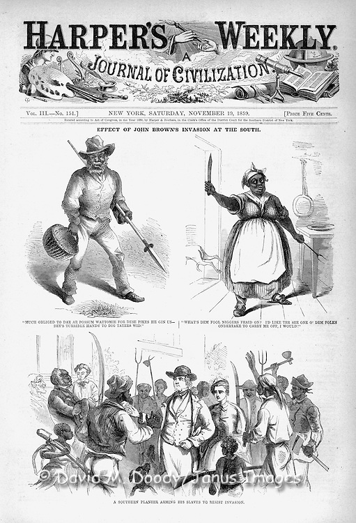 An interesting view of Pre Civil War events in Virginia with slave owners supposedly arming their loyal slaves to resist John Brown's invaders. The effects of John Brown's Invasion of the South to spark a slave rebellion by seizing the arsenal at Harper's Ferry, Virginia (present day West Virginia ), just before the start of the Civil War. Harper's Weekly November 19, 1859. Illustrations by Porte Crayon (David Hunter Strother) long time Harper's contributor and resident of nearby Berkeley Springs Virginia (now West Virginia)