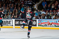 KELOWNA, CANADA - SEPTEMBER 24: Jonathan Smart #6 of the Kelowna Rockets celebrates his first goal of the WHL regular season against the Kamloops Blazers on September 24, 2016 at Prospera Place in Kelowna, British Columbia, Canada.  (Photo by Marissa Baecker/Shoot the Breeze)  *** Local Caption *** Jonathan Smart;