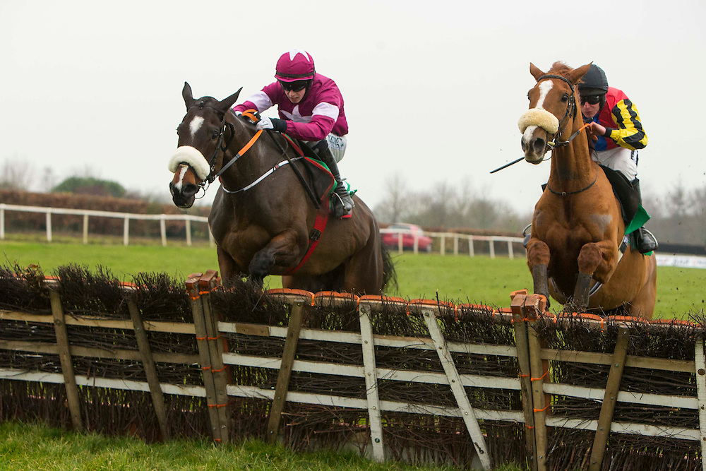 Navan Races, Saturday 27th February 2016.<br /> Bryan Cooper in Gordon Elliott trained General Principle clears the last hurdle and goes on to win the Nobber Maiden Hurdle at Navan<br /> Photo: David Mullen /www.cyberimages.net / 2016