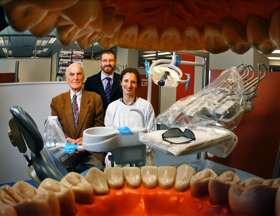 The Royal Dental Hospital of Melbourne will be turning 120 this Sunday. in the teaching area are (left to right), Prof Henry Atkinson, Dr Nathan Chochrane and Dr Sophie Beaumont - Pic By Craig Sillitoe 09/09/2010  Pic By Craig Sillitoe CSZ / The Sunday Age melbourne photographers, commercial photographers, industrial photographers, corporate photographer, architectural photographers, This photograph can be used for non commercial uses with attribution. Credit: Craig Sillitoe Photography / http://www.csillitoe.com<br /> <br /> It is protected under the Creative Commons Attribution-NonCommercial-ShareAlike 4.0 International License. To view a copy of this license, visit http://creativecommons.org/licenses/by-nc-sa/4.0/.