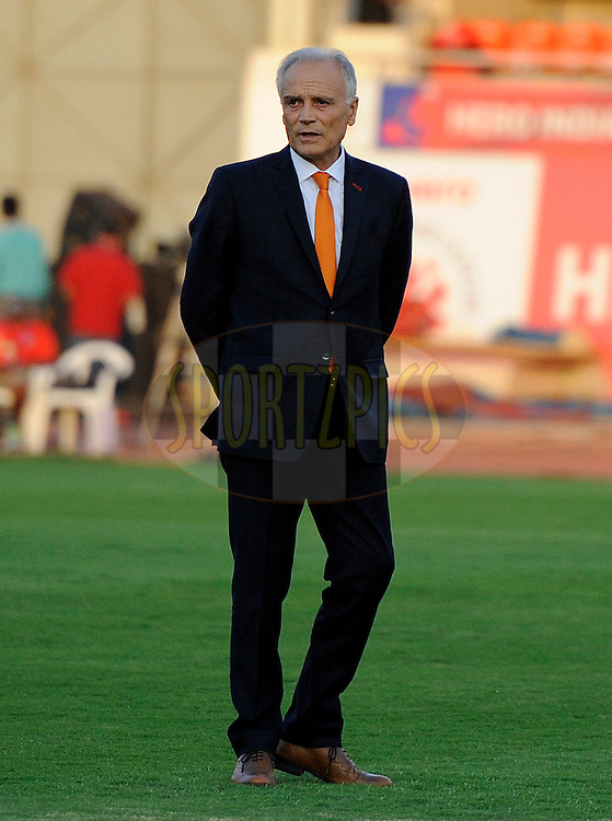 FC Pune City coach Franco Colomb before the start of match 44 of the Hero Indian Super League between FC Pune City and Atletico de Kolkata FC held at the Shree Shiv Chhatrapati Sports Complex Stadium, Pune, India on the 29th November 2014.<br /> <br /> Photo by:  Pal Pillai/ ISL/ SPORTZPICS