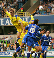 Photo: Frances Leader.<br />Millwall v Cardiff City. Coca Cola Championship.<br />24/09/2005.<br /><br />Cardiff's Glen Loovens attempt at goal in the first half