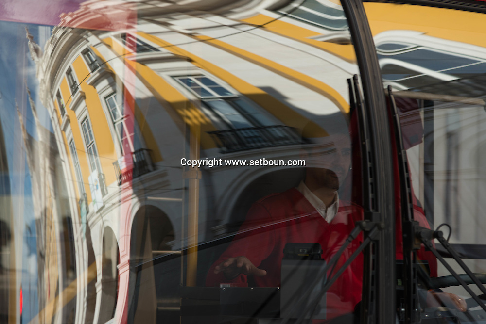 Portugal. Lisbon. people in a tramway