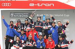 26.01.2020, Streif, Kitzbühel, AUT, FIS Weltcup Ski Alpin, Slalom, Herren, Siegerehrung, im Bild Clement Noel (FRA) mit seinem Team // during the winner ceremony for the men's Slalom of FIS Ski Alpine World Cup at the Streif in Kitzbühel, Austria on 2020/01/26. EXPA Pictures © 2020, PhotoCredit: EXPA/ SM<br /> <br /> *****ATTENTION - OUT of GER*****