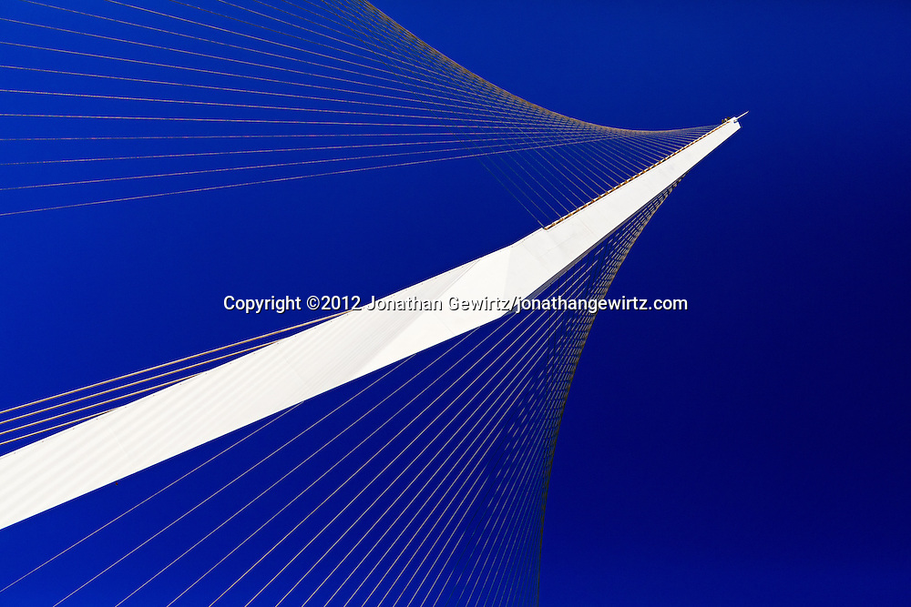 Detail of the Jerusalem Chords Bridge designed by Santiago Calatrava. WATERMARKS WILL NOT APPEAR ON PRINTS OR LICENSED IMAGES.