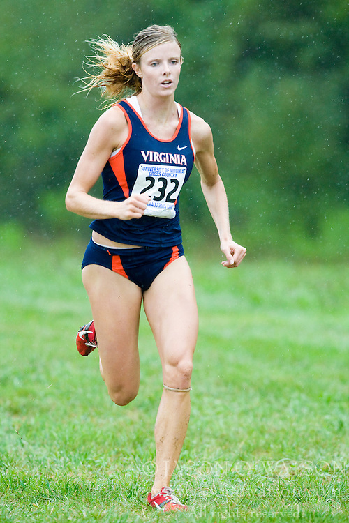 Lyndsay Harper (232/University of Virginia).  The Lou Onesty Invitational Cross Country meet was hosted by the University of Virginia XC team and held at Panorama Farms near Charlottesville, VA on September 6, 2008.  Athletes endured rain and wind from Tropical Storm Hanna during the race.