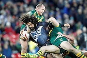 New Zealand's Adam Blair ploughs his way through during the Ladbrokes Four Nations match between Australia and New Zealand at Anfield, Liverpool, England on 20 November 2016. Photo by Craig Galloway.
