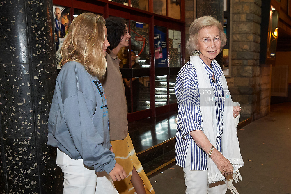 Queen Sofia of Spain, Victoria Federica de Marichalar, Irene Urdangarin leave the Rivoli Cinema after watching The Lion King on July 30, 2019 in Palma, Spain