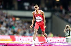 London, August 13 2017 . Mutaz Essa Barshim, Qatar, in the men's high jump final on day ten of the IAAF London 2017 world Championships at the London Stadium. © Paul Davey.