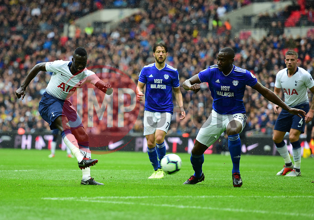 Davinson Sanchez of Tottenham Hotspur shoots at goal. - Mandatory by-line: Alex James/JMP - 06/10/2018 - FOOTBALL - Wembley Stadium - London, England - Tottenham Hotspur v Cardiff City - Premier League
