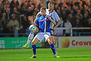 Goalscorer Steven Davies challenged by David Wheater during the EFL Sky Bet League 1 match between Rochdale and Bolton Wanderers at Spotland, Rochdale, England on 27 September 2016. Photo by Daniel Youngs.