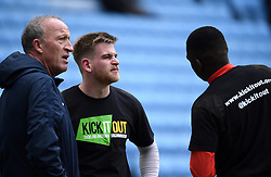 Coventry City goalkeeper coach Steve Ogrizovic (left) with Lee Burge (centre)