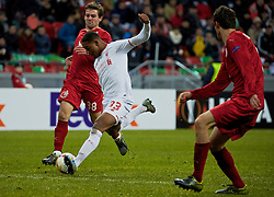 KAZAN, RUSSIA - Thursday, November 5, 2015: Liverpool's Jordon Ibe scores the only goal of the game to seal a 1-0 victory against Rubin Kazan during the UEFA Europa League Group Stage Group B match at the Kazan Arena. (Pic by Oleg Nikishin/Propaganda)