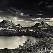 Moonrise over Cul Beag and Cul Mor, Assynt. Loch Buine mor and Boat Bay, Sutherland, Scottish highlands