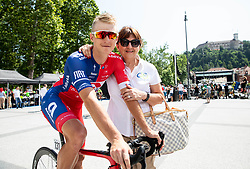 Marko Kump (SLO) of Adria Mobil and Mojca Novak during 1st Stage of 26th Tour of Slovenia 2019 cycling race between Ljubljana and Rogaska Slatina (171 km), on June 19, 2019 in  Slovenia. Photo by Vid Ponikvar / Sportida