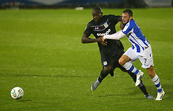 August 9, 2017 - Colchester, Greater London, United Kingdom - Drey Wright of Colchester United tussle with Aston Villa's Christopher Samba.during Carabao Cup First Round match between Colchester United and Aston Villa at Colchester Community Stadium, Colchester,  England on 09 August 2017. (Credit Image: © Kieran Galvin/NurPhoto via ZUMA Press)