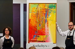 "© Licensed to London News Pictures. 07/10/2016. London, UK.   ""Abstraktes Bild"" by Gerhard Richter sold for a hammer price of £2.4m (est £1-1.5m) at Sotheby's Italian and Contemporary Art evening sale in New Bond Street. Photo credit : Stephen Chung/LNP"