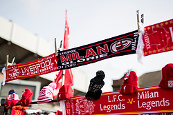 LIVERPOOL, ENGLAND - Saturday, March 23, 2019: The match-day scarf for sale outside Anfield before the LFC Foundation charity match between Liverpool FC Legends and Milan Glorie at Anfield. (Pic by Paul Greenwood/Propaganda)
