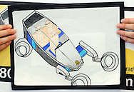 Sophia Ponomarenko's entry of The Maserati Leaper won 1st place and the grand prize in the Thompson Organization's Draw the Future Contest Thursday April 16, 2015 at Thompson Toyota in Doylestown, Pennsylvania. A record 1,184 entries from kindergarten to sixth grade were received from students at more than 40 local schools. The grand prize winner will have her drawing featured on a billboard. (Photo by William Thomas Cain/Cain Images)