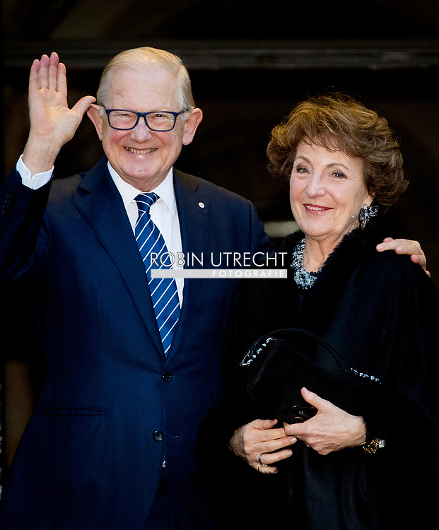 3-2-2018 AMSTERDAM - Princess Margriet and Pieter van Vollenhoven  arrives at the Royal Palace on Dam Square for the birthday reception of Princess Beatrix. The princess celebrates her 80th birthday in private. ROBIN UTRECHT