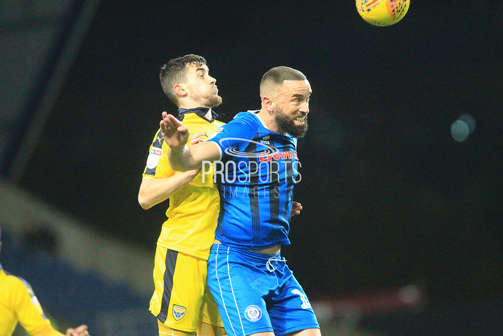 Aaron Wilbraham wins a header during the EFL Sky Bet League 1 match between Oxford United and Rochdale at the Kassam Stadium, Oxford, England on 27 November 2018.