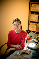 Amber VanDerwarker is a assistant professor of Anthropology at the University of California at Santa Barbara. She was photographed in 2007 at Muhlenberg College in Pennsylvania.