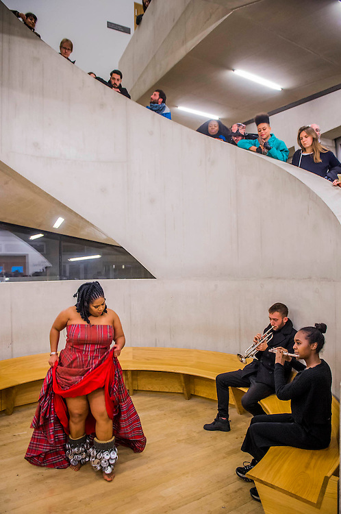 Aluminum - New York-based choreographer Rashida Bumbray (pictured red dress) collaborates with Simone Leigh on an immersive dance performance. The performance begins in the Tanks at and proceeds through the Switch House, pausing on Level 4 around and concluding in Tate Exchange.