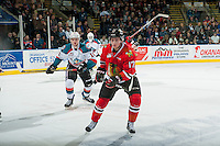 KELOWNA, CANADA - JANUARY 21: Alex Overhardt #17 of the Portland Winterhawks looks for the pass in front of Tomas Soustal #15 of the Kelowna Rockets on January 21, 2017 at Prospera Place in Kelowna, British Columbia, Canada.  (Photo by Marissa Baecker/Shoot the Breeze)  *** Local Caption ***