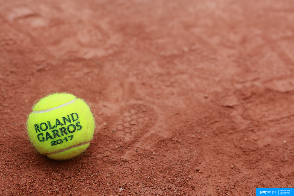 2017 French Open Tennis Tournament - Qualifying.   A tennis ball on a clay court at the 2017 French Open Tennis Tournament at Roland Garros on May 24th, 2017 in Paris, France.  (Photo by Tim Clayton/Corbis via Getty Images)