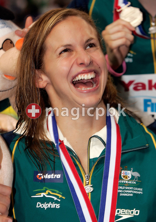 Lisbeth LENTON of Australia smiles during a team photo after the award ceremony of the women's 4x100m Freestyle Relay Final during day four of the 8th FINA World Swimming Championships (25m) held at Qi Zhong Stadium April 8th, 2006 in Shanghai, China. The Australian relay team wins the silver medal. (Photo by Patrick B. Kraemer / MAGICPBK)