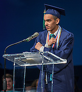Salutatorian Jonathan Bond comments during the first ever graduation for Mickey Leland College Preparatory Academy, May 27, 2015.