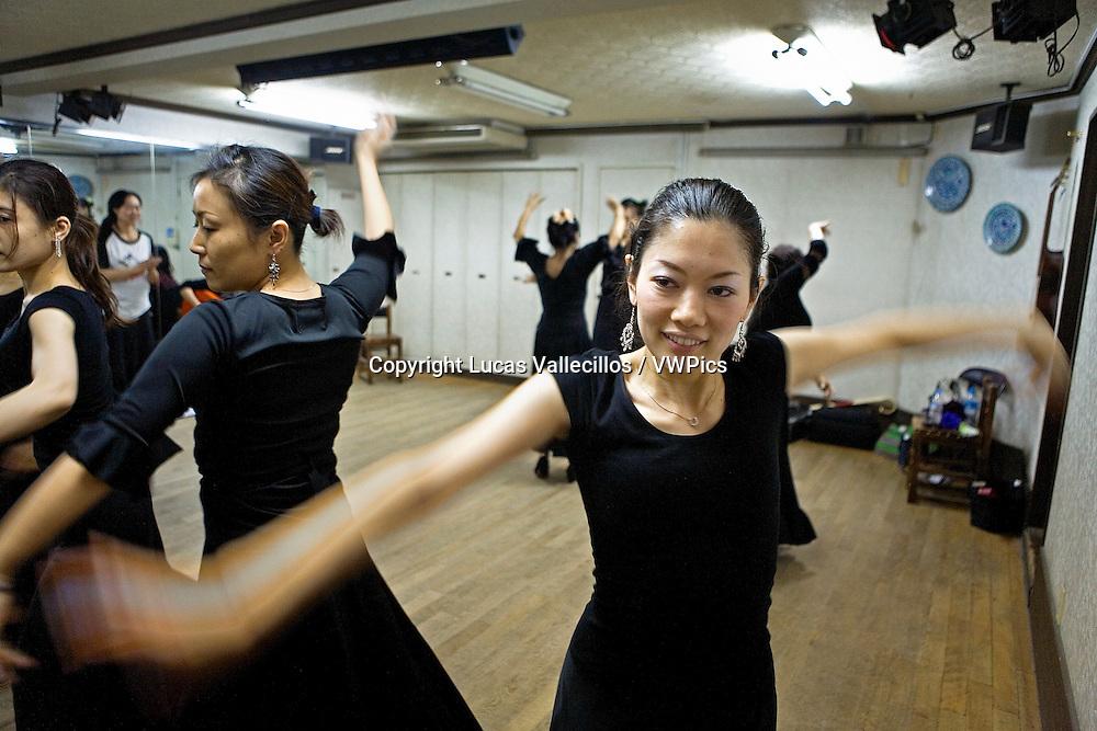 Students of flamenco dance. In the study of Kayoko nakata.  Tokyo, Japan
