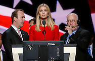 Republican presidential nominee Donald Trump's daughter Ivanka does a sound check during Trump's walk through at the Republican National Convention in Cleveland July 21, 2016.  REUTERS/Rick Wilking