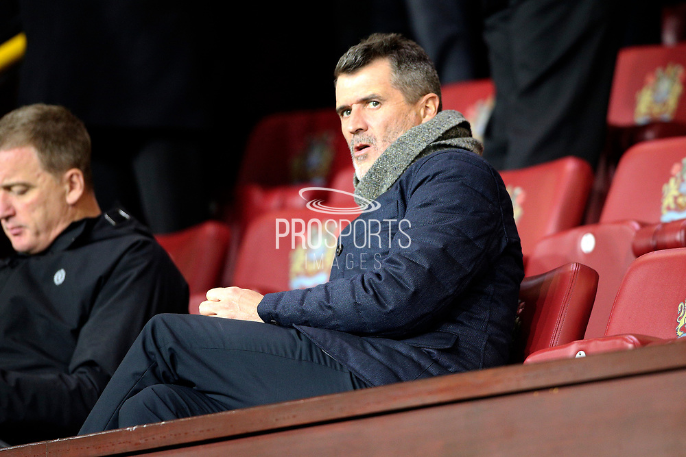 Roy Keane settles down to watch the game during the Premier League match between Burnley and Manchester City at Turf Moor, Burnley, England on 3 December 2019.