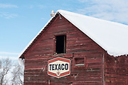Vintage Texaco sign on an old barn in Oregon's Wallowa Valley.