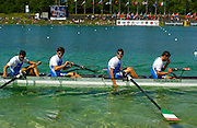 2005 FISA Rowing World Cup Munich,GERMANY. 19.06.2005;.ITA M4- Silver medallist. Photo  Peter Spurrier. .email images@intersport-images...[Mandatory Credit Peter Spurrier/ Intersport Images] Rowing Course, Olympic Regatta Rowing Course, Munich, GERMANY