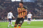 Hull City forward Fraizer Campbell (25) recacts to Hull City forward Jarrod Bowen (20) scores goal to go 1-1  during the EFL Sky Bet Championship match between Hull City and Preston North End at the KCOM Stadium, Kingston upon Hull, England on 26 September 2017. Photo by Ian Lyall.
