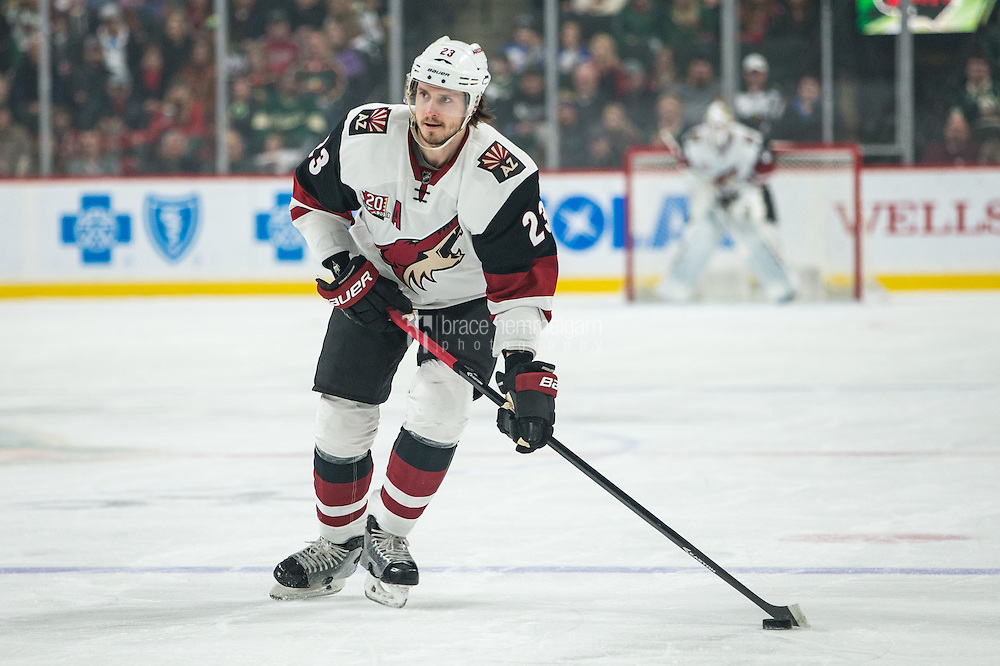 Dec 17, 2016; Saint Paul, MN, USA; Arizona Coyotes defenseman Oliver Ekman-Larsson (23) against the Minnesota Wild at Xcel Energy Center. The Wild defeated the Coyotes 4-1. Mandatory Credit: Brace Hemmelgarn-USA TODAY Sports