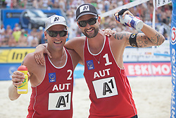 31.07.2013, Klagenfurt, Strandbad, AUT, A1 Beachvolleyball EM 2013, im Bild links / Alexander Horst 2 AUT, rechts Clemens Doppler 1 AUT // during the A1 Beachvolleyball European Championship at the Strandbad Klagenfurt, Austria on 2013/07/31. EXPA Pictures © 2013, EXPA Pictures © 2013, PhotoCredit: EXPA/ Mag. Gert Steinthaler