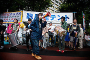 TOKYO, JAPAN - 20 JULY  Kasumigaseki -  Desmostration anti-nuclear in front of  the National Diet Bulding - the very active group of musician Drums of Fury -July 2012